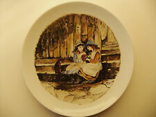 Decorative plate Edwardian Style Two Girls & Their Cat. Hand Painted Item