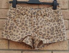 NEW LOOK BEIGE LEOPARD TAN ANIMAL DENIM JEANS SEXY HOT PANTS SHORTS 8 S