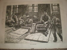 Blind basket makers 1871 old print and article on employment for the blind