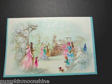 # J159- Unused Mid Century Glitter Christmas Greeting Card At The Train Station