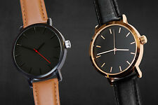 ECHT Minimalistic Men's Watch BROWN GOLD TAN Leather Quartz Simple Wrist Watches