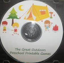 Deluxe Camping themed preschool learning games.  30 printable games and workshee