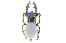 Collection VTG White Jewelry Crystal Rhinestone Beetle Bug Diamante Pin Brooches