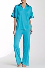 NWT N Natori Teal Blue Congo Tunic JERSEY KNIT/SATIN Lounge/Pajama Set S $68