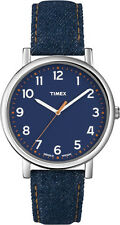 Timex Originals Large Quartz Watch T2N955, Indiglo Night Light, Denim Strap.