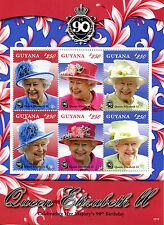 Guyana 2016 MNH Queen Elizabeth II 90th Birthday Anniv 6v M/S Royalty Stamps