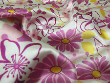 "Ivory & Pink ""Blossoms"" Floral Printed 60"" Shiny Satin Dress Fabric."