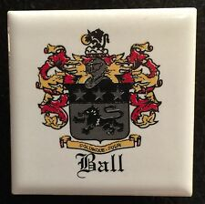 "Ceramic tile refrigerator magnet Ball Family Crest 1.75"" Sq"