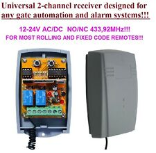 Universal 433,92MHz 2-canale ricevitore, rolling&fixed code 12-24V DC, COM/N.O