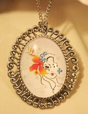 Shiny Swirl Rim Silvertn Lady with Colorful Flowers in her Hair Cameo Brooch Pin