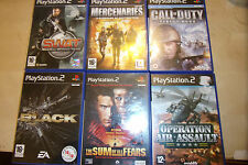 6 Playstation 2 PS2 GIOCHI DI GUERRA Call of Duty SWAT mercenari NERO OP aerea d'assalto