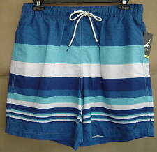 NWT $60 NAUTICA Mens L LIGHT FRENCH BLUE Striped SWIM SHORTS Trunks T41934