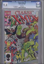 Classic  X-Men #2 CGC 9.4 1986  Marvel Comic: featuring Arthur Adams Cover