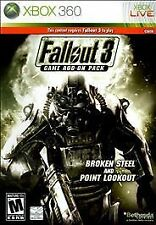 Fallout 3 Game Add-On Pack Broken Steel and Point Lookout.Xbox 360 Game and Case