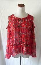 NEW RED Floral CHIFFON Prairie COLD SHOULDER Bell Sleeve KIMONO Hippie BOHO TOP