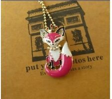 N12 Betsey Johnson Little Cute Fox Wolf Pink Vixen wi/ Crystal Crown Necklace US