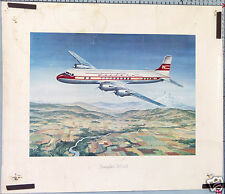 AFFICHE ANCIENNE AVION WESTERN AIR LINE DOUGLAS DC-6B