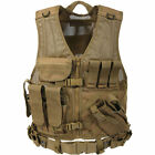 Coyote Tan Cross Draw Tactical Vest with Holster, Pistol Belt, and Hydration Car