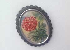 Vintage TLM Picture Brooch Red Carnation scarf pin Thomas L Mott