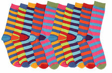 6 Pairs Men Socks Funky Multi Colors Design Stripes Socks Cotton Blend UK 6-11