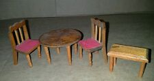 Dollhouse Miniature Wooden 2 Chairs Table 2 1/4 By 1 1/4  Plus a Stool