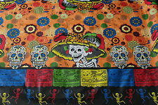 """Day of the Dead"" Skeletons Mexican Multicolored Oilcloth PVC Tablecloth Orange"