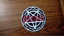 DIMMU BORGIR + LOGO CIRCULAR,IRON ON RED AND WHITE EMBROIDERED PATCH
