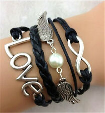 Angel Wings Lucky 8 Love Antique Silver Black Leather Friendship Bracelet A01