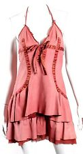 ROBERTO CAVALLI Coral Leather & Silk Charm Detail Tiered Halter Dress S