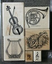 Stampin' Up MUSICAL MEDLEY Set 6 Rubber Stamps Lot Violin Harp French Horn Music