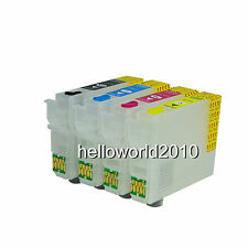4 REFILLABLE CARTRIDGES SERIES T1291 / T1294 STYLUS OFFICE BX305F ARC CHIP