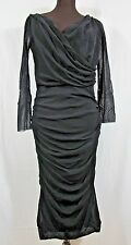 Fuzzi Black NERO Sheer Wrap Shawl Neck Ruched Dress Plus 20W Bodycon Italy