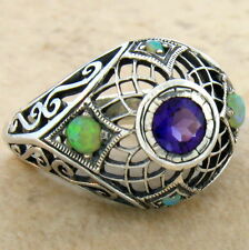 GENUINE AMETHYST ANTIQUE DESIGN 925 STERLING SILVER SYN OPAL RING SZ 7,     #585