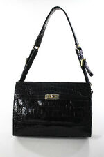 Eileen Kramer Black Genuine Crocodile Medium Turn Lock Shoulder Handbag