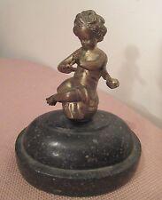 antique detailed Austrian gilt bronze marble cherub baby angel statue figure
