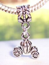 Carriage Pumpkin Princess Coach Dangle Bead for Silver European Charm Bracelets