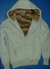 Rue21 Womens Winter Solid Misty Teal Green Knit Faux Fur Lined Hoodie Pockets S