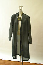 Yves Saint Laurent YSL Gray Silk Evening jacket Duster Coat Long Ombre 48 10
