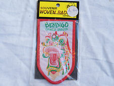 VINTAGE BENDIGO CHINESE DRAGON EMBROIDERED PATCH SOUVENIR WOVEN CLOTH SEW BADGE