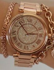 NEW MICHAEL KORS SKYLAR ROSE GOLD PAVE SWAROVSKI DIAL WOMEN'S WATCH MK5868