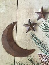 "RUSTY BLACK MOON 8"" WITH (2) 3"" RUST BARN STARS PRIMITIVE COUNTRY CABIN"
