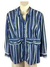 Womens Maggie Barnes Button Down Blouse Pls Size 3X Vertical Stripe Purple White