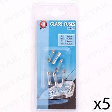 2 paquetes surtidos de vidrio fusibles 1/3/2/5 Amp Batería Coche/Moto/potencia del automóvil