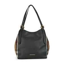 Burberry The Small Canter in Leather and House Check Tote - Black