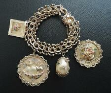 Vintage 14K Yellow Gold Multilink Charm Bracelet 4 Large Charms w. Gems