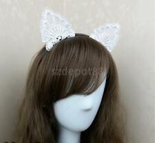 White Lace Cat Ears Headband Animal Ears Cosplay Party Costume Hair Band