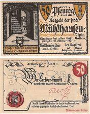 Germany 50 Pfennig 1921 Muhlhausen Notgeld AU-UNC Banknote - No.1 - Owl