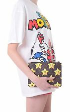 Moschino Couture Jeremy Scott Super Mario Stars Pouch / CLUTCH Textured Leather