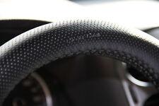 "New 14.75"" Black Steering Wheel Cover PVC Leather Wrap Sew on 47004 Medium Sedan"