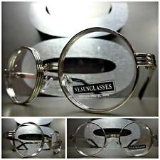 Men Women CLASSIC VINTAGE Style Clear Lens EYE GLASSES Round Silver Chrome Frame